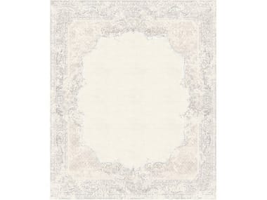 Handmade rectangular rug AUBUSSON VINTAGE DUSTY BEIGE