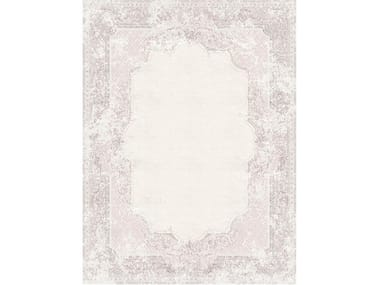 Handmade rectangular rug AUBUSSON VINTAGE DUSTY ROSE