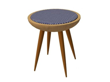 Low wooden stool with integrated cushion AUDREY | Stool