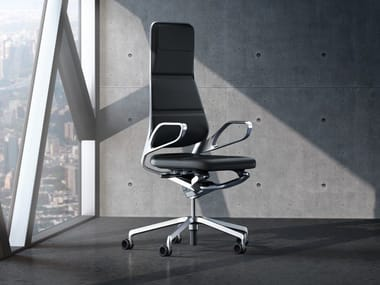 Swivel leather executive chair with 5-spoke base AURAY   Executive chair