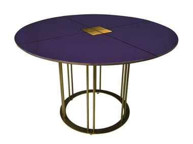 Lacquered round dining table AUREOLA D110 C | Dining table