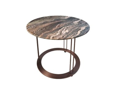 Tavolino rotondo in marmo da salotto AUREOLA | Tavolino in marmo