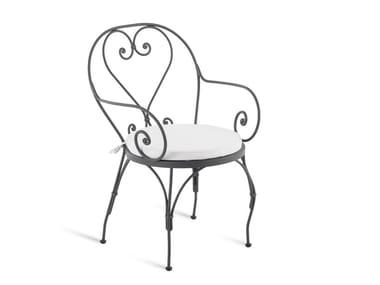 Silla de hierro de jardín con brazos AURORA | Silla con brazos