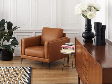 Upholstered leather armchair AUTEUIL | Armchair