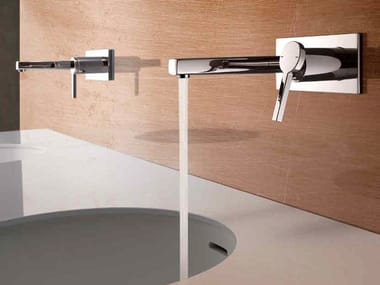 2 hole wall-mounted washbasin mixer with plate KWC AVA | Wall-mounted washbasin mixer