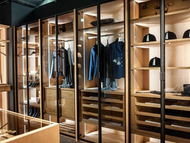 Sectional wooden walk-in wardrobe AVANT