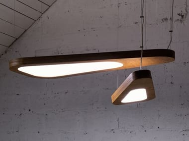 LED direct-indirect light cable-mounted plywood pendant lamp AVOCADO | Plywood pendant lamp