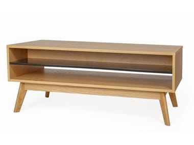 Wood veneer coffee table with integrated magazine rack AVON | Coffee table