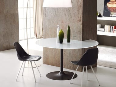 Round glass ceramic dining table AXEL