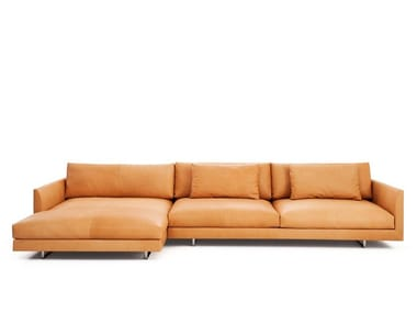 Upholstered leather sofa with chaise longue AXEL XL | Leather sofa