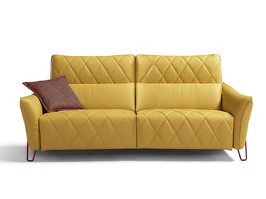 Tufted recliner leather sofa with electric motion AXELLE
