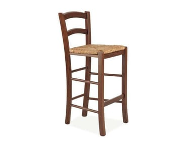High wooden stool with back AZALEA | Stool