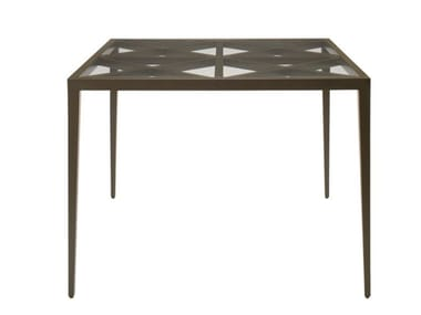 Square glass and aluminium dining table AZIMUTH CROSS | Square table