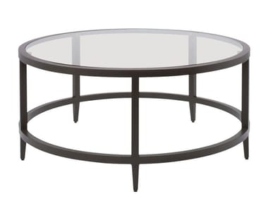 Round glass and aluminium coffee table AZIMUTH LINEAR | Coffee table