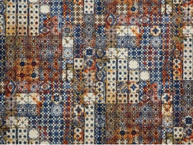 Contemporary style cotton wall fabric with graphic pattern AZULEJOS