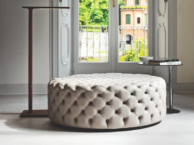 Tufted leather pouf ALCIDE | Round pouf