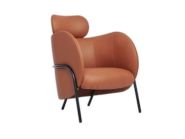 Leather armchair with armrests with headrest ROYCE | Armchair with headrest
