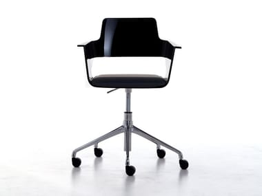 Task chair with armrests with casters B32 HO | Height-adjustable task chair