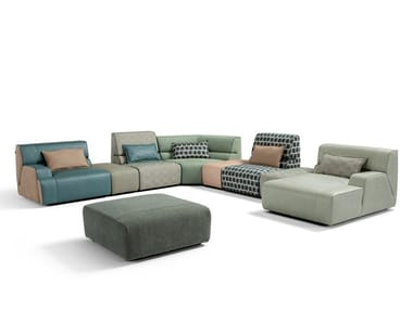 Sectional leather and fabric sofa BABOUCHE | Sofa
