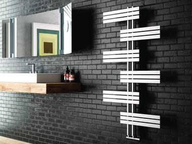 Brushed-finish wall-mounted decorative radiator BABYLA | Brushed steel radiator