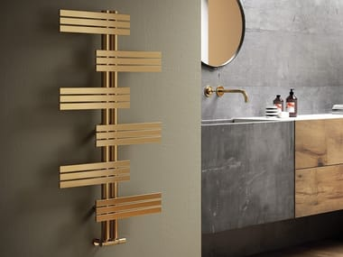 Vertical wall-mounted stainless steel decorative radiator BABYLA GOLD