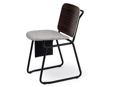 Sled base chair with integrated cushion BABYLONE 02