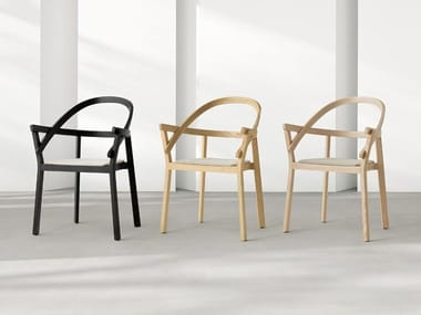 Wooden chair with armrests BACI
