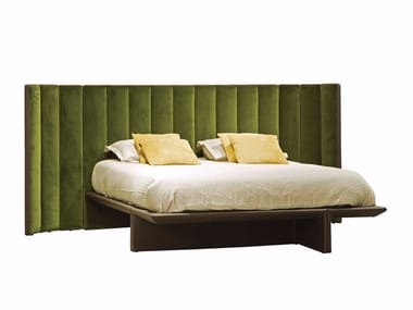 Fabric double bed with high headboard BACKSTAGE