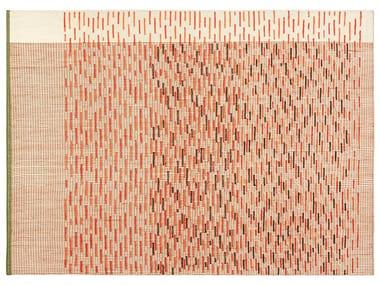 Tapis fait main rectangulaire à rayures en laine BACKSTITCH BUSY BRICK