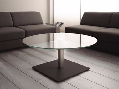 Round glass bistro side table BADA | Glass coffee table