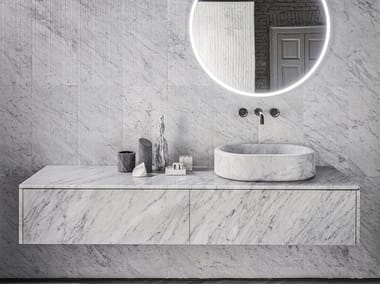 Sectional wall-mounted marble vanity unit with drawers BALNEA | Vanity unit with drawers