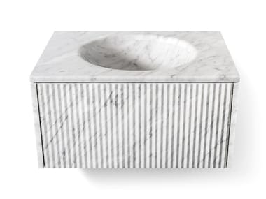 Vasque sous plan ovale simple en marbre de style contemporain BALNEA | Lavabo