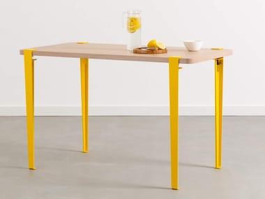 Tavolo rettangolare in acciaio e legno BALTHAZAR