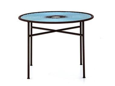 Steel and colored polyethylene threads handwoven table BANJOOLI | Table