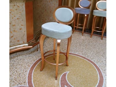 Low Eco-leather stool with footrest SGABELLO