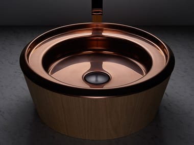 Countertop round stainless steel and wood washbasin BARN COPPER