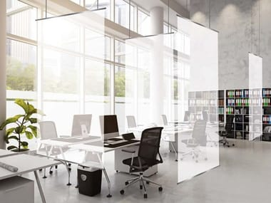 Sound absorbing hanging PVC office screen BARRISOL® MICROSORBER | Office screen