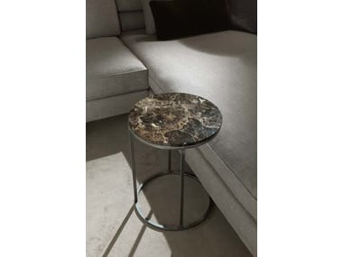 Tavolino di servizio rotondo in marmo BARRY | Tavolino rotondo