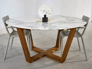 Round marble table BASKET