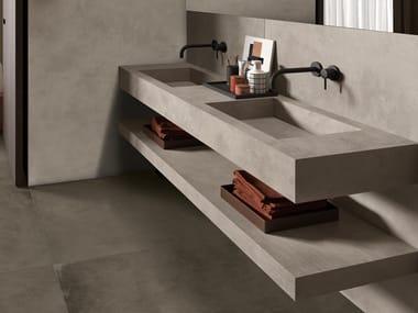 Lavabo double rectangulaire en grès cérame de style contemporain avec plan intégré BATH DESIGN | Lavabo double