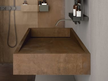 Lavabo rectangulaire suspendu en grès cérame BATH DESIGN | Lavabo