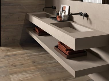 Double rectangular porcelain stoneware washbasin with integrated countertop BATH DESIGN | Double washbasin