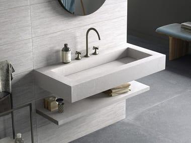 Lavabo rectangulaire suspendu en grès cérame BATH DESIGN | Lavabo suspendu