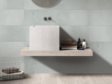 Vasque à poser carré simple en grès cérame BATH DESIGN | Lavabo carré