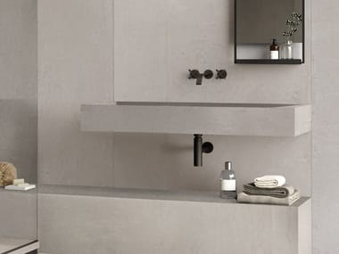 Lavabo rectangulaire simple suspendu en grès cérame BATH DESIGN | Lavabo suspendu