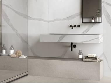 Contemporary style rectangular wall-mounted porcelain stoneware washbasin BATH DESIGN | Wall-mounted washbasin