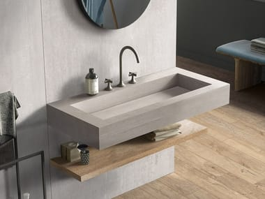 Lavabo rectangulaire simple suspendu en grès cérame BATH DESIGN | Lavabo