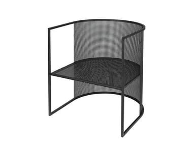 Powder coated steel easy chair with armrests BAUHAUS LOUNGE CHAIR
