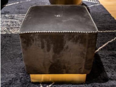 Square leather pouf BAXTER - ANAIS 41x41-Kashimir fumé