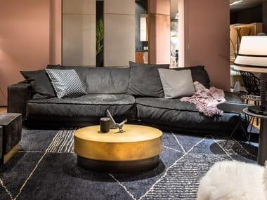 Sectional leather sofa BAXTER - BUDAPEST SOFT KASHMIR FUMÉ